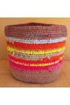 Cabas crocheté multicolore, Zpagetti et jute, brun, ciel, orange, jaune et rose