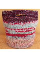 Cabas crocheté multicolore, Zpagetti et jute, bordeaux, ciel et rouge