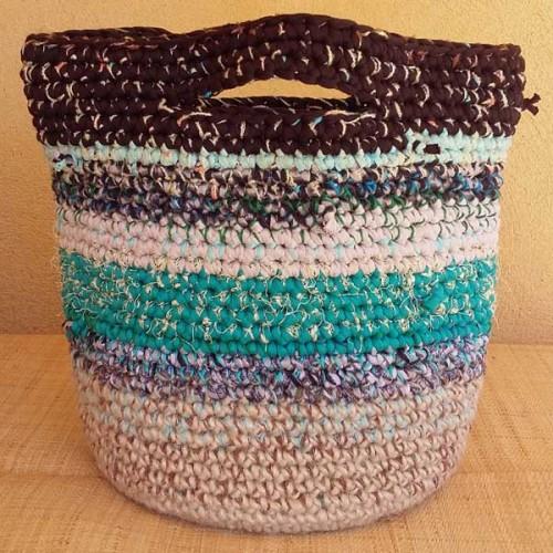 Cabas crocheté multicolore, Zpagetti et jute, brun, turquoise et naturel