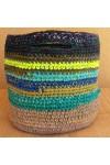 Cabas crocheté multicolore Zpagetti et jute, kaki foncé, vert olive, citron, curry, turquoise et bleu