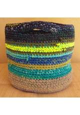 Cabas crochet multicolore Zpagetti et jute, marine, kaki, jaune, turquoise et bleu