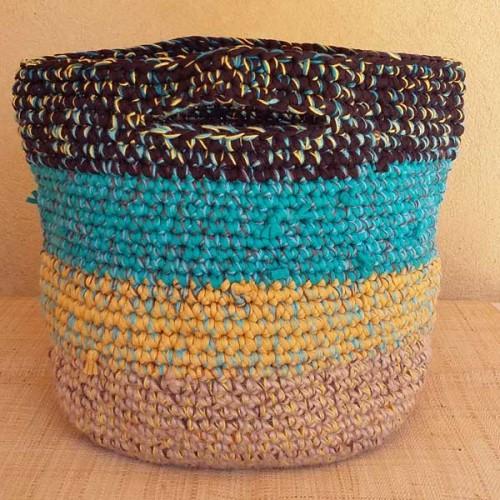 Cabas crocheté multicolore, Zpagetti et jute, brun foncé, turquoise et curry
