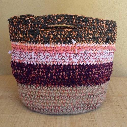 Cabas crocheté multicolore Zpagetti et jute, kaki foncé, corail et bordeaux