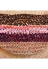Cabas crochet multicolore Zpagetti et jute, kaki foncé, corail et bordeaux