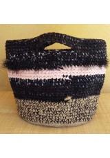 Cabas crocheté multicolore Zpagetti et jute, noir et rose