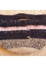 Cabas crochet multicolore noir et rose