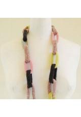 Collier chaîne anneaux crochetés jaune et rose