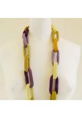 Collier chaîne, anneaux crochetés, jaunes et violets en dégradé