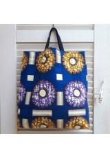 Tote bag bleu, violet et ocre