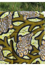 Paréo Wax ocre jaune indigo orange