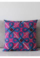 Coussin Wax turquoise rose