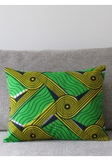 Coussins Wax vert jaune indigo