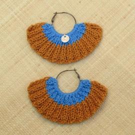 Boucles d'oreilles éventail caramel et bleu de France
