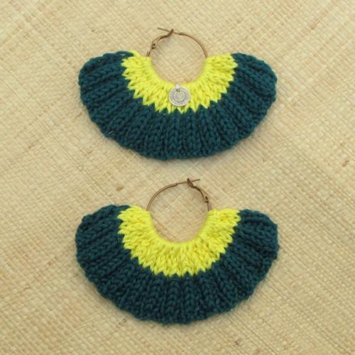 Boucles d'oreilles éventail vert sapin et jaune citron