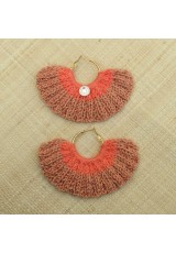 Boucles d'oreilles éventail saumon irisé et orange clair