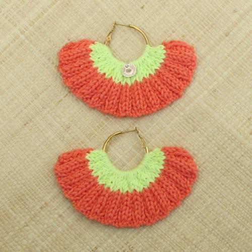 Boucles d'oreilles éventail orange clémentine et jaune acide