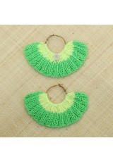 Boucles d'oreilles éventail vert pré et jaune clair