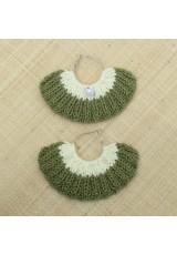 Boucles d'oreilles éventail vert kaki et jaune pâle