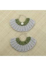 Boucles d'oreilles éventail lin et vert kaki