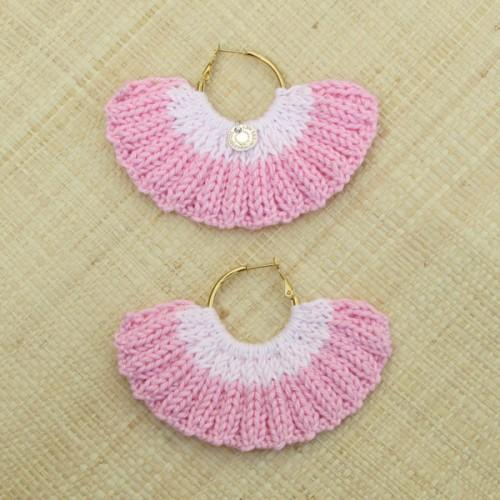 Boucles d'oreilles éventail rose dragée et rose pâle