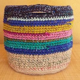 Cabas crochet multicolore Zpagetti et jute, bleu, jaune, rose et turquoise