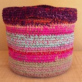 Cabas crochet multicolore Zpagetti et jute, aubergine, rose et bleu ciel