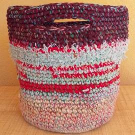 Cabas crochet multicolore Zpagetti et jute, bordeaux, ciel et rouge